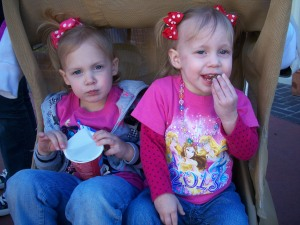 Eating a snack waiting on the Princess parade.
