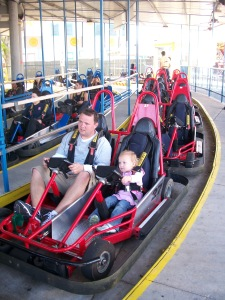 Jess and Mark on go carts, she was so excited, but then so terrified.